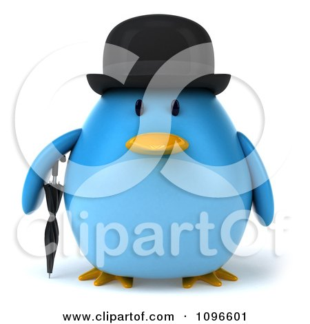 Clipart 3d Chubby Blue Bird In A Bowler Hat - Royalty Free CGI Illustration by Julos