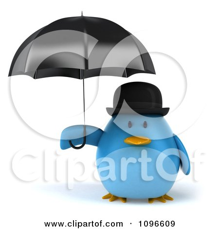 Clipart 3d Chubby Blue Bird In A Bowler Hat Holding An Umbrella - Royalty Free CGI Illustration by Julos