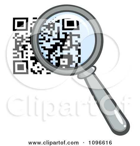 Clipart Magnifying Glass Over A Qr Code - Royalty Free Vector Illustration by Hit Toon
