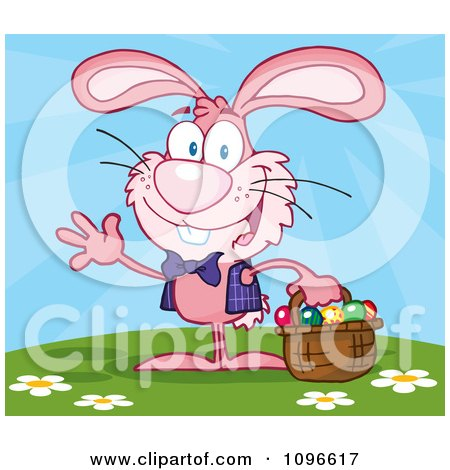 Clipart Happy Waving Pink Easter Bunny Carrying A Basket Of Eggs Outside - Royalty Free Vector Illustration by Hit Toon