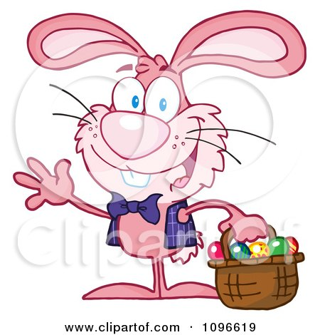 Clipart Happy Waving Pink Easter Bunny Carrying A Basket Of Eggs - Royalty Free Vector Illustration by Hit Toon