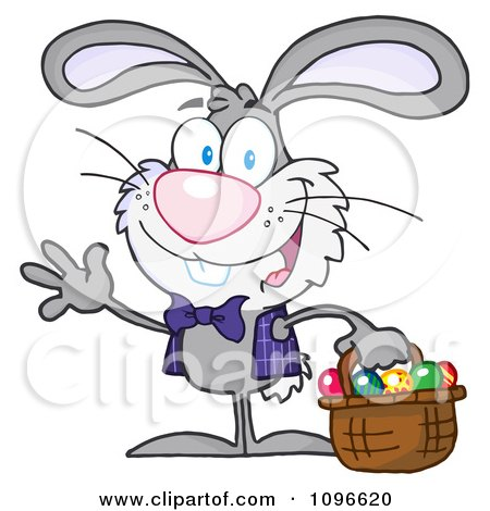 Clipart Happy Waving Gray Easter Bunny Carrying A Basket Of Eggs - Royalty Free Vector Illustration by Hit Toon