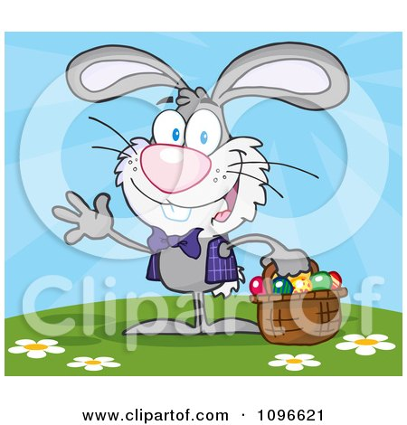 Clipart Happy Waving Gray Easter Bunny Carrying A Basket Of Eggs Outside - Royalty Free Vector Illustration by Hit Toon