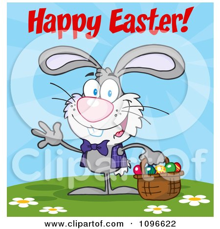 Clipart Gray Happy Easter Bunny Carrying A Basket Of Eggs - Royalty Free Vector Illustration by Hit Toon