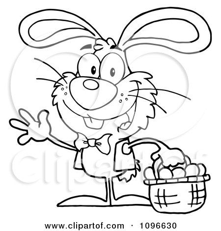 Clipart Outlined Happy Waving Easter Bunny Carrying A Basket Of Eggs - Royalty Free Vector Illustration by Hit Toon