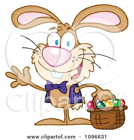 Clipart Happy Waving Easter Bunny Carrying A Basket Of Eggs - Royalty Free Vector Illustration by Hit Toon