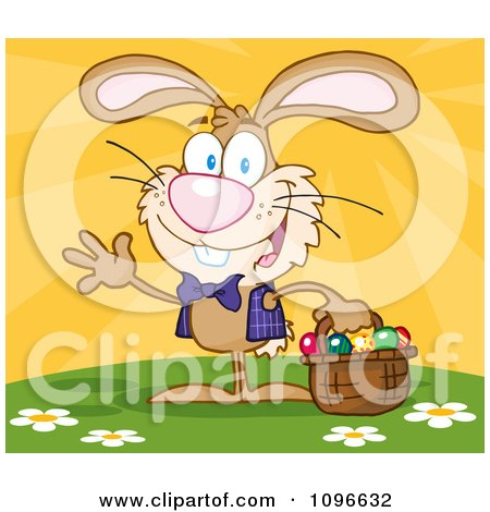 Clipart Happy Waving Brown Easter Bunny Carrying A Basket Of Eggs - Royalty Free Vector Illustration by Hit Toon
