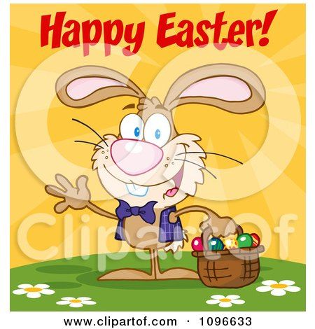 Clipart Happy Easter Bunny Carrying A Basket Of Eggs - Royalty Free Vector Illustration by Hit Toon