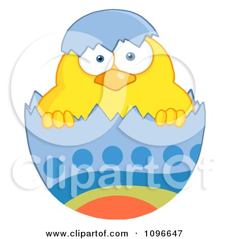 Clipart Yellow Easter Chick In A Blue Shell - Royalty Free Vector Illustration by Hit Toon
