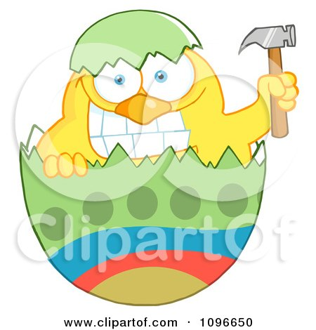Clipart Yellow Easter Chick Holding A Hammer In A Green Shell - Royalty Free Vector Illustration by Hit Toon