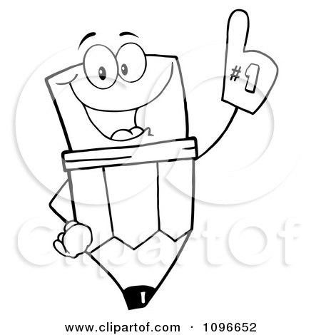 Clipart Outlined Happy School Pencil Wearing A Number One Foam Glove - Royalty Free Vector Illustration by Hit Toon