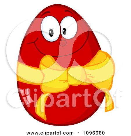Clipart Happy Red Easter Egg With A Yellow Ribbon And Bow - Royalty Free Vector Illustration by Hit Toon