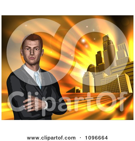 Clipart Corporate Businessman With Folded Arms Against A Golden City - Royalty Free Vector Illustration by AtStockIllustration