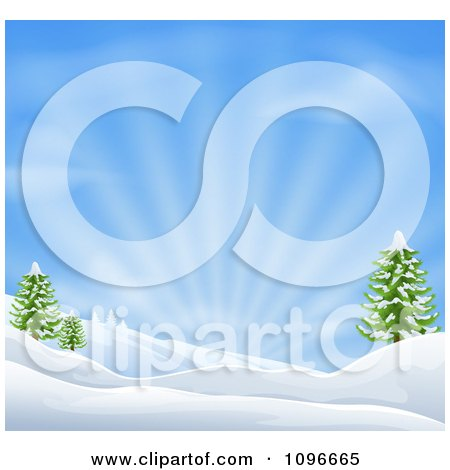 Clipart Snowy Christmas Winter Background With Evergreens And Sunshine - Royalty Free Vector Illustration by AtStockIllustration