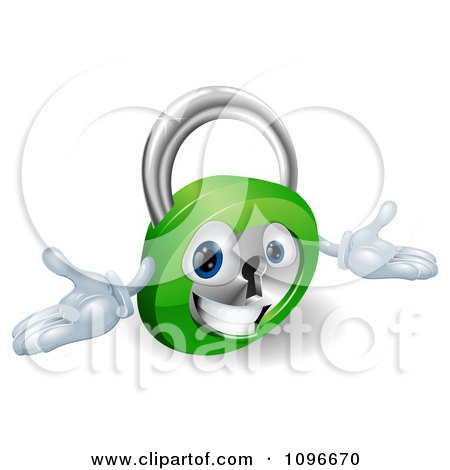 Clipart 3d Friendly Padlock With Open Arms - Royalty Free Vector Illustration by AtStockIllustration