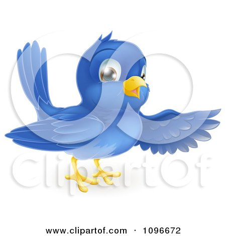 Clipart Friendly Bluebird Presenting Or Pointing With A Wing - Royalty Free Vector Illustration by AtStockIllustration