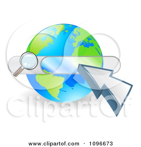Clipart Search Box And Arrow Cursor Over A Globe - Royalty Free Vector Illustration by AtStockIllustration