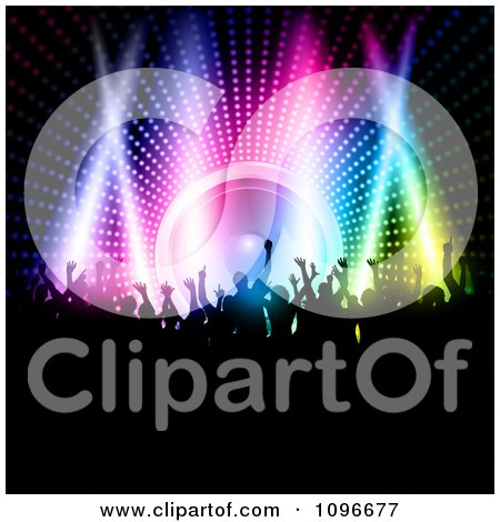 Clipart Silhouetted Party People Dancing Over A Colorful Lights And A Speaker - Royalty Free Vector Illustration by KJ Pargeter