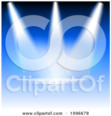 Clipart Background Of Spotlights Shining Down On An Empty Floating Podium - Royalty Free Vector Illustration by KJ Pargeter