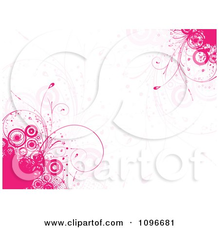 Clipart Pink Grunge Circle And Floral Background - Royalty Free Vector Illustration by KJ Pargeter