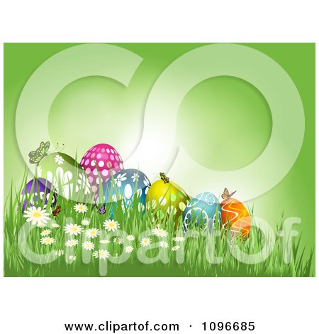 Clipart Green Easter Background With Butterflies Resting On Eggs In The Grass - Royalty Free Vector Illustration by KJ Pargeter