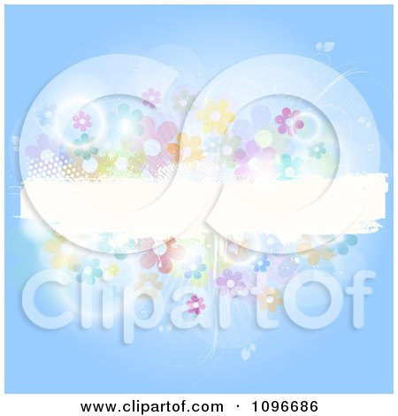Clipart Blue Background With A White Grunge Text Bar Flares And Flowers - Royalty Free Vector Illustration by KJ Pargeter