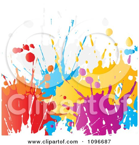Clipart Background Of Colorful Paint Splatters On White - Royalty Free Vector Illustration by KJ Pargeter