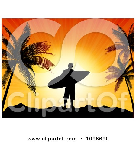 Clipart Silhouetted Male Surfer Dude Against An Orange Sunset With Palm Trees - Royalty Free Vector Illustration by KJ Pargeter