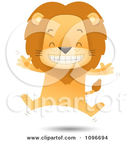 Clipart Happy Lion Jumping - Royalty Free Vector Illustration by Qiun
