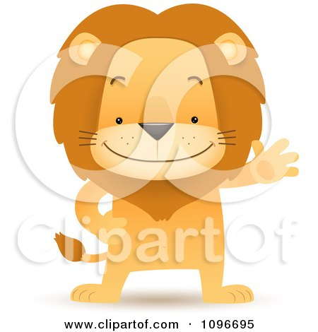 Clipart Friendly Lion Waving And Standing Upright - Royalty Free Vector Illustration by Qiun