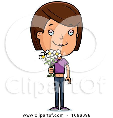Clipart Brunette Adolescent Teenage Girl Holding Out Flowers - Royalty Free Vector Illustration by Cory Thoman