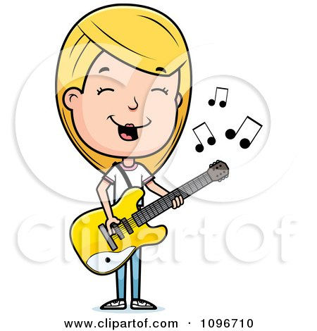 Clipart Blond Adolescent Teenage Girl Playing A Guitar - Royalty Free Vector Illustration by Cory Thoman