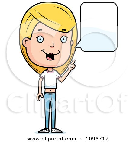 Clipart Blond Adolescent Teenage Girl Talking - Royalty Free Vector Illustration by Cory Thoman