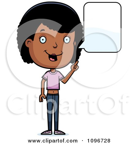 Clipart Black Adolescent Teenage Girl Talking - Royalty Free Vector Illustration by Cory Thoman