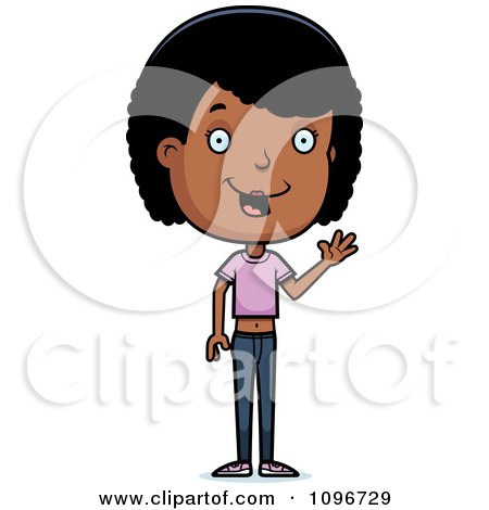 Clipart Friendly Black Adolescent Teenage Girl Waving - Royalty Free Vector Illustration by Cory Thoman