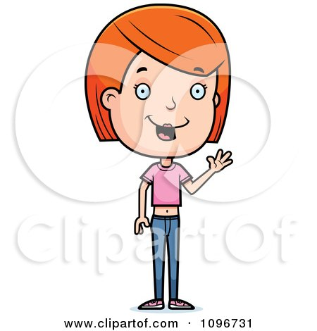 Clipart Friendly Red Head Adolescent Teenage Girl Waving - Royalty Free Vector Illustration by Cory Thoman