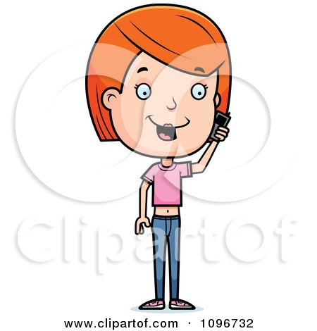Clipart Red Head Adolescent Teenage Girl Talking On A Cell Phone - Royalty Free Vector Illustration by Cory Thoman