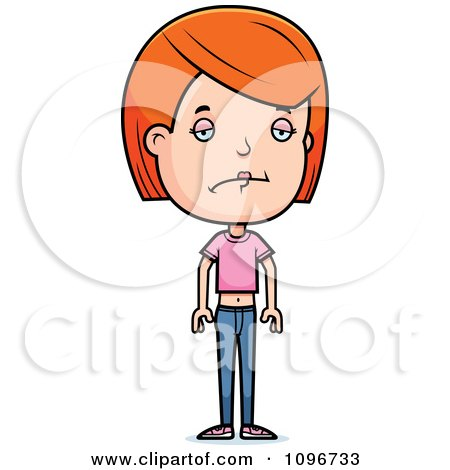 Clipart Depressed Red Head Adolescent Teenage Girl - Royalty Free Vector Illustration by Cory Thoman