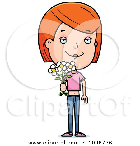 Clipart Red Head Adolescent Teenage Girl Holding Out Flowers - Royalty Free Vector Illustration by Cory Thoman