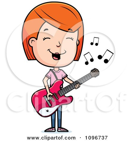 Clipart Red Head Adolescent Teenage Girl Playing A Guitar - Royalty Free Vector Illustration by Cory Thoman