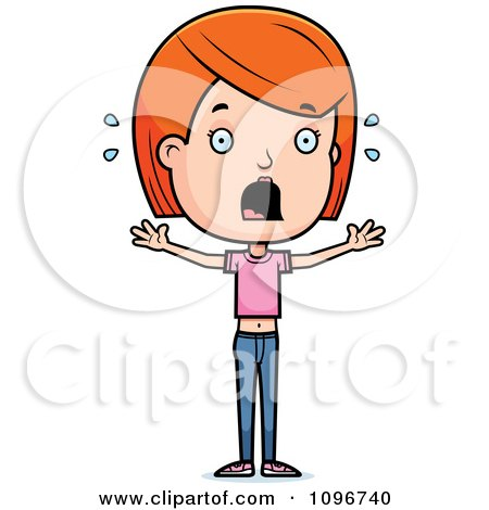 Clipart Scared Red Head Adolescent Teenage Girl - Royalty Free Vector Illustration by Cory Thoman