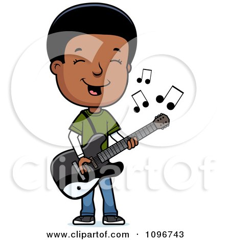 Clipart Black Adolescent Teenage Boy Playing A Guitar - Royalty Free Vector Illustration by Cory Thoman