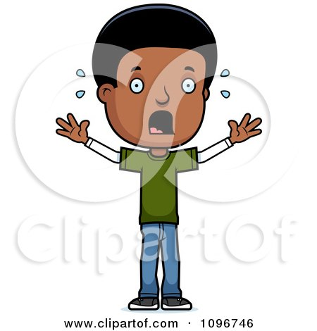 Clipart Scared Black Adolescent Teenage Boy - Royalty Free Vector Illustration by Cory Thoman