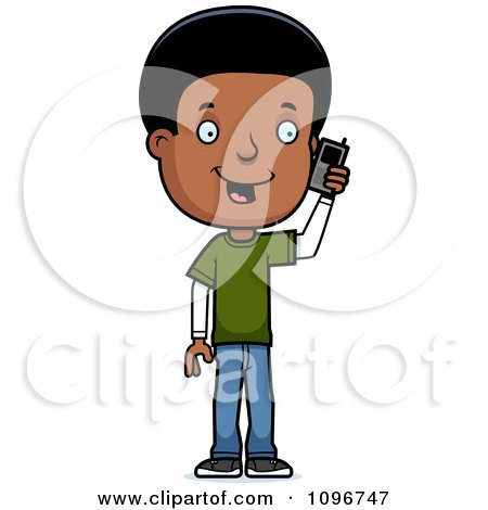 Clipart Black Adolescent Teenage Boy Talking On A Cell Phone - Royalty Free Vector Illustration by Cory Thoman
