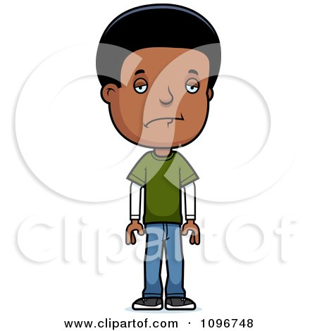 Clipart Depressed Black Adolescent Teenage Boy - Royalty Free Vector Illustration by Cory Thoman