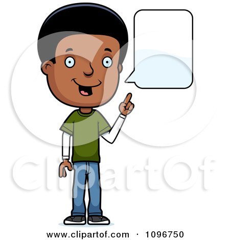 Clipart Black Adolescent Teenage Boy Talking - Royalty Free Vector Illustration by Cory Thoman