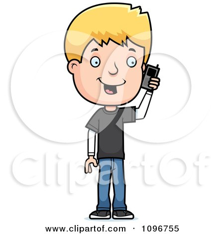 Clipart Blond Adolescent Teenage Boy Talking On A Cell Phone - Royalty Free Vector Illustration by Cory Thoman