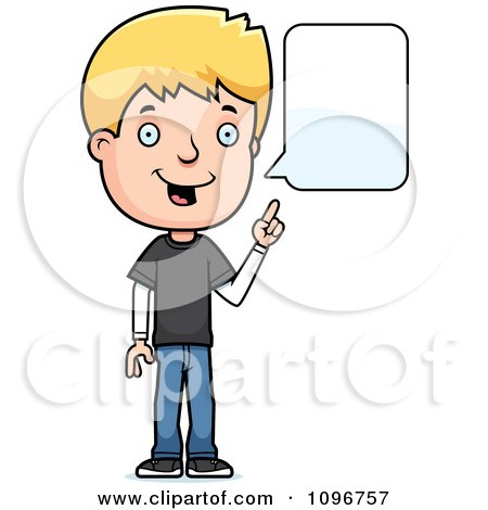 Clipart Blond Adolescent Teenage Boy Talking - Royalty Free Vector Illustration by Cory Thoman