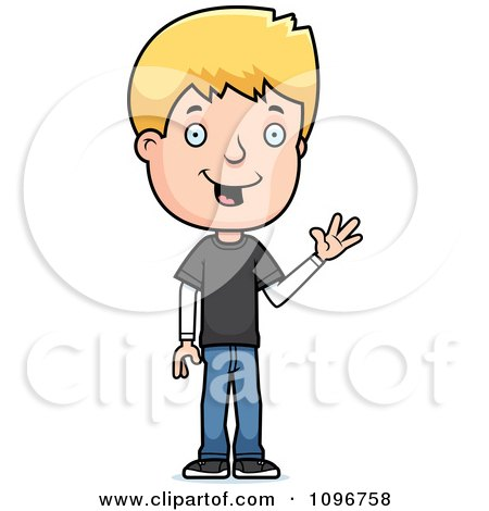 Clipart Blond Adolescent Teenage Boy Waving - Royalty Free Vector Illustration by Cory Thoman