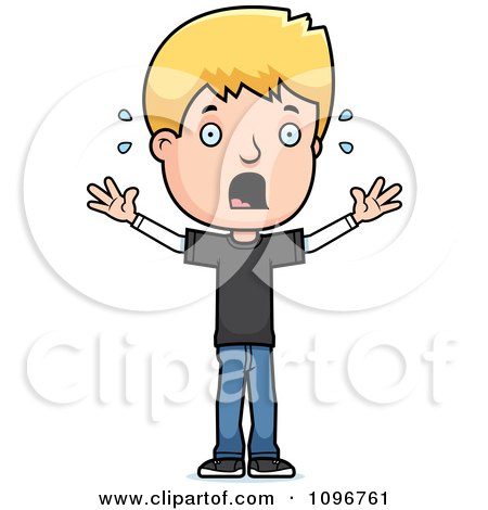 Clipart Stressed Blond Adolescent Teenage Boy - Royalty Free Vector Illustration by Cory Thoman
